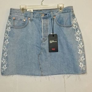 Levi's Deconstructed Floral Button Fly Skirt NWT